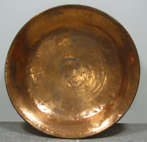 Picture of big copper bowl to curdle the milk