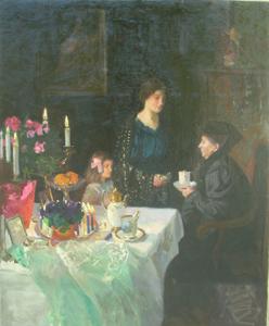 Immagine di Dipinto ad olio Scena familiare (Festa di compleanno) di W. Geffcken