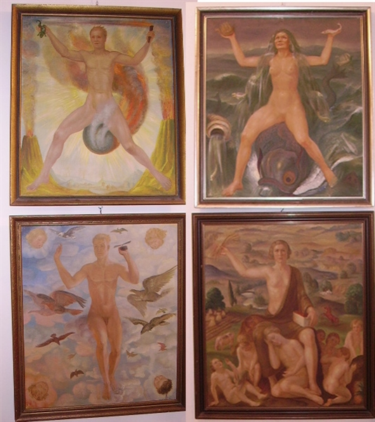 Picture of Group of oil paintings Four elements by H. Condrus