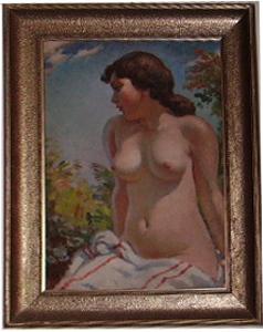 Immagine di Dipinto ad olio Nudo di donna seduta