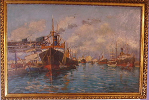 Picture of Oil painting Livorno seaport by Sirio Civili