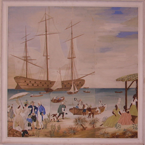 Picture of Painting on paper (papier peint) Colonial scene