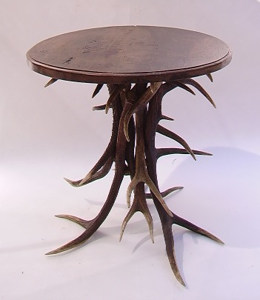 Picture of round table with deer antler