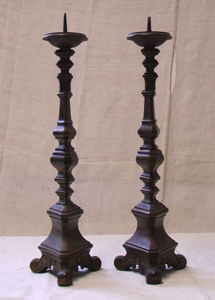 Picture of pair of tall candlestick in bronze