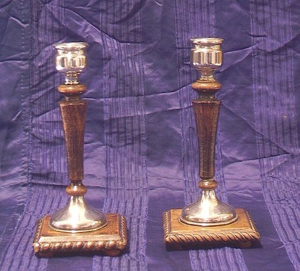 Picture of pair of candlestick silver plated and wood