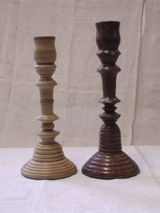 Picture of Two candlestick in wood