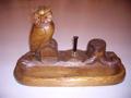 Immagine di calamaio gufo legno intagliato