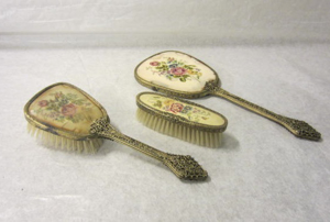 Picture of Vanity set with hand held mirror, hair brush an clothes brush  with embroidery