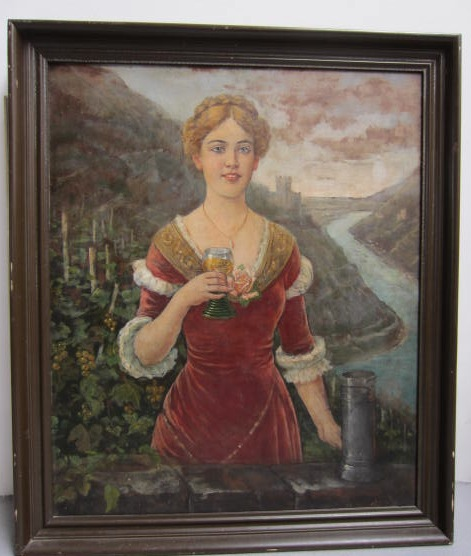 Picture of Oil painting on wood Girl with a glass by Oni Aron