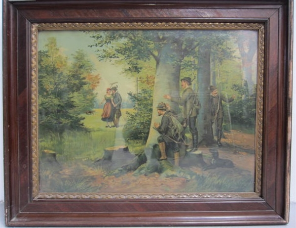 Picture of Pair of oleography  of Hunting scenes