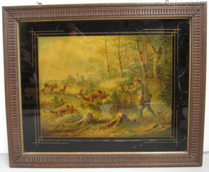Picture of Oleography of a hunting scene with glass passepartout
