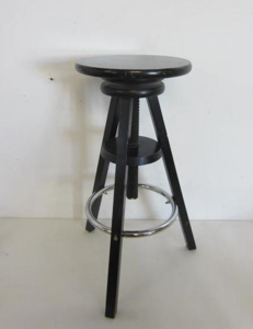 Picture of Adjustable Black stool with crhome bar