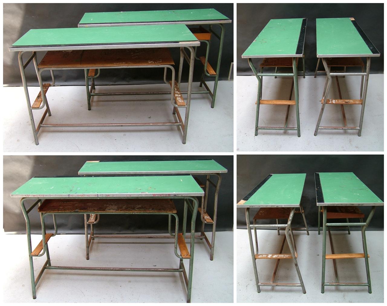 Picture of two double dark school desks
