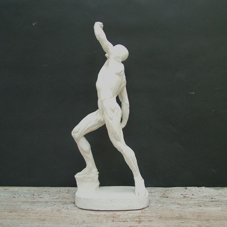 Immagine di Scultura anatomica in gesso di scorticato in movimento di Caudron