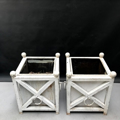 Picture of Pair of white painted iron planters