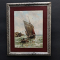 Picture of Lithograph on metal. Sailing ship, boat and shore