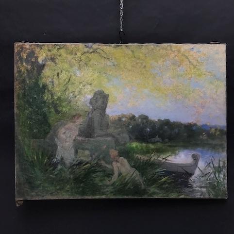 Immagine di Dipinto ad olio di Johannes Raphael Wehle. Lago con fanciulle