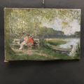 Picture of Oil painting by Johannes Raphael Wehle. Lake with lovers