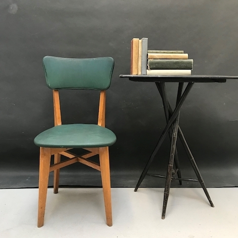 Sedie Anni 50 Legno.Crazy Art Green Faux Leather Chair From 1950