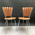Picture of Pair of chromium-plated chairs with leather seat