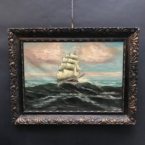 Picture of Illegible sign's oil painting. Sailing ship in a storm