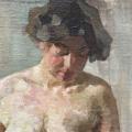 Picture of Painting by Ermenegildo Antonio Donadini. Standing aked woman.