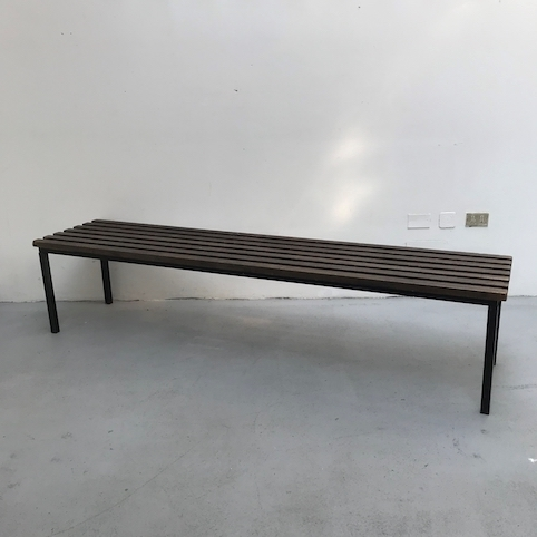 Picture of Wooden slats and Iron Gym Bench for locker room