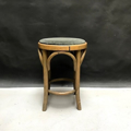 Picture of Bent beechwood stool with light blue velvet seat