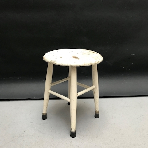 Picture of Primitive rustic round wooden white stool