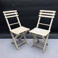 Picture of Pair of folding chairs painted in white