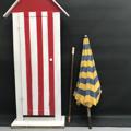 Immagine di Ombrellone da spiaggia blu e giallo