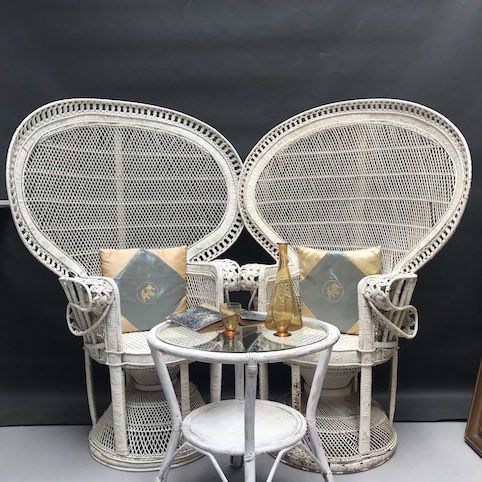 Picture of Pair of White Peacock Chair