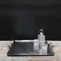 Immagine di vassoio metallo argentato manici avorio