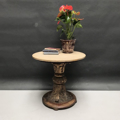 Picture of Round table with marble top and wooden golden leg