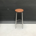 Picture of Brown Leatherette stool with chrome legs